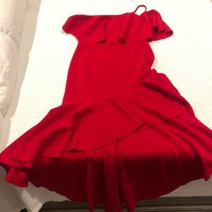 New Asos high -low red dress